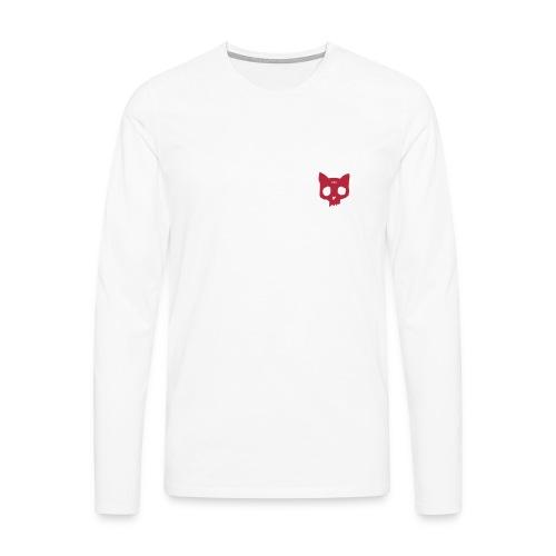 Cat skull long sleeve red on white - Men's Premium Longsleeve Shirt