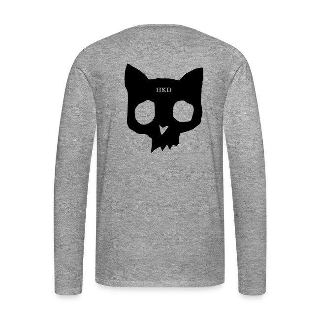 Cat skull long sleeve black on grey