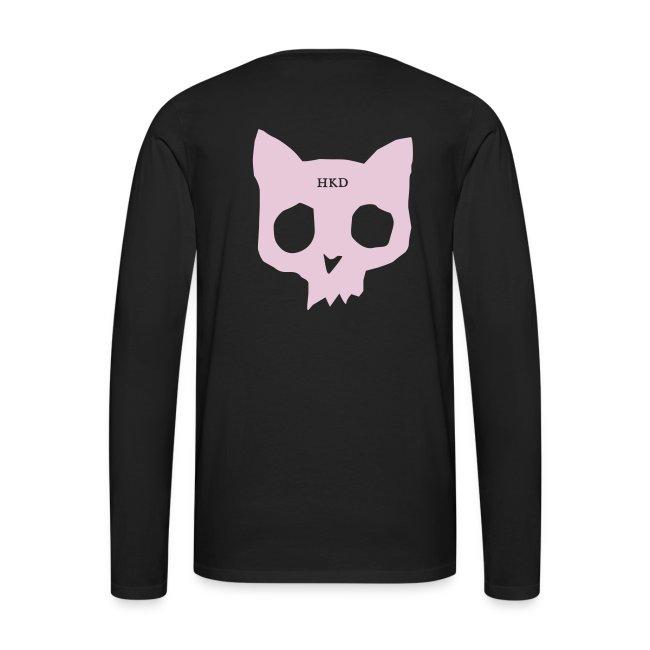 Cat skull long sleeve pink on black