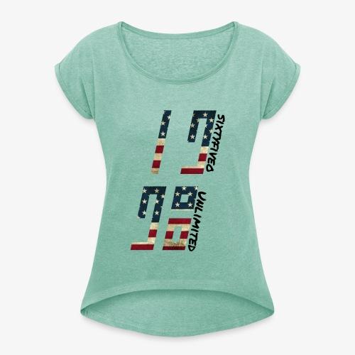 Sixtyfiveo Unlimited T-Shirt grey - Frauen T-Shirt mit gerollten Ärmeln