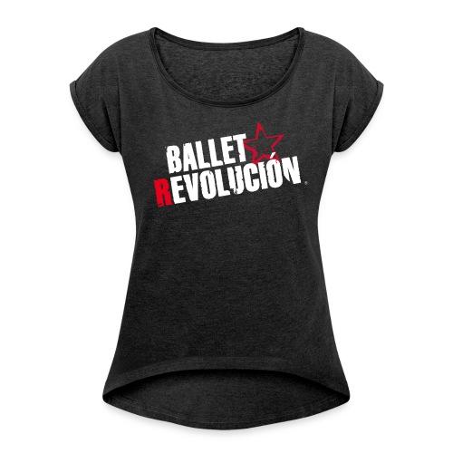 Damen T-Shirt Ballet Revolución mit gerollten Ärmeln, schwarz meliert - Frauen T-Shirt mit gerollten Ärmeln