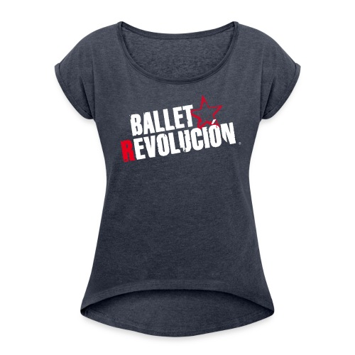 Damen T-Shirt Ballet Revolución mit gerollten Ärmeln, navy meliert - Frauen T-Shirt mit gerollten Ärmeln
