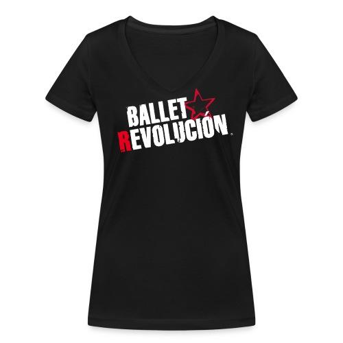 Bio Damen T-Shirt Ballet Revolución, schwarz - Frauen Bio-T-Shirt mit V-Ausschnitt von Stanley & Stella