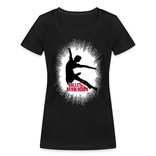 Bio Damen T-Shirt Ballet Revolución Tänzer, schwarz - Frauen Bio-T-Shirt mit V-Ausschnitt von Stanley & Stella