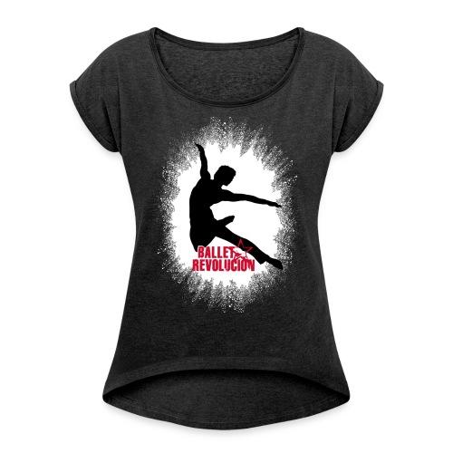 Damen T-Shirt Ballet Revolución Tänzer mit gerollten Ärmeln, schwarz meliert - Frauen T-Shirt mit gerollten Ärmeln
