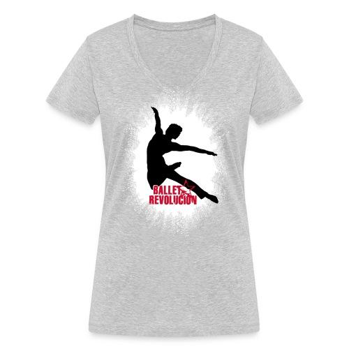 Bio Damen T-Shirt Ballet Revolución Tänzer, grau meliert - Frauen Bio-T-Shirt mit V-Ausschnitt von Stanley & Stella
