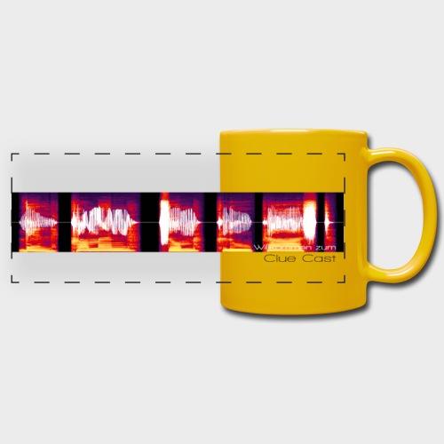 Willkommen zum Clue Cast | Tasse (Gelb) - Panoramatasse farbig