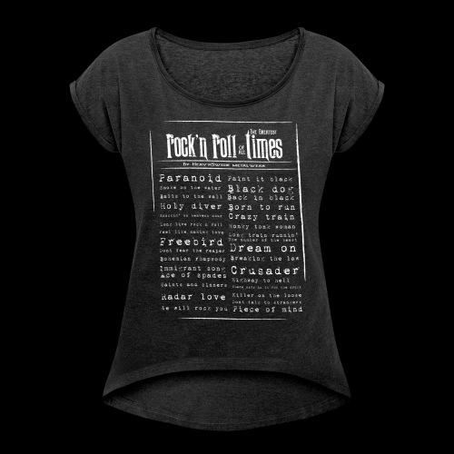 Rocktimes - T-shirt med upprullade ärmar dam