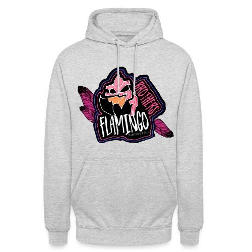 Flamingo Hoodie Lys Grå - Unisex-hettegenser