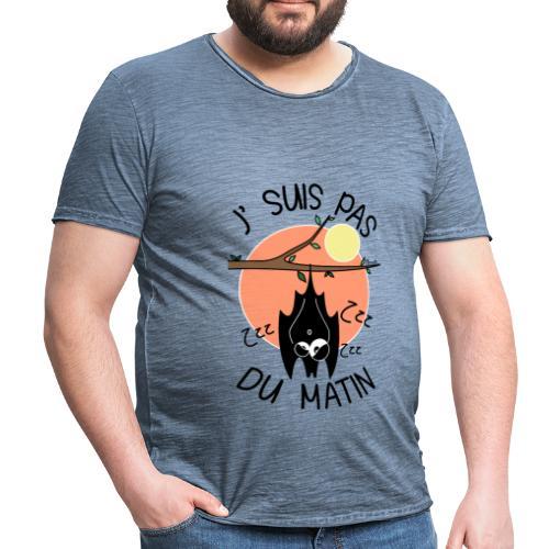 T-shirt Vintage Homme Chauve-souris, J' suis pas du Matin - T-shirt vintage Homme