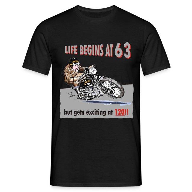 Life begins at 63 biker birthday t-shirt