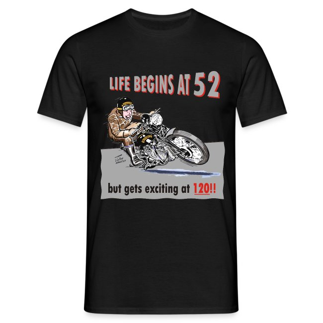 Life begins at 52 biker birthday t-shirt