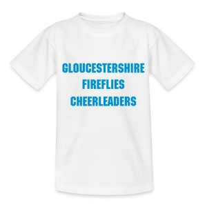 Gloucetsershire Fireflies Cheerleaders pee wee/junior white/blue - Teenage T-shirt