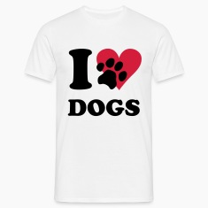 Blanc I love dogs - chiens, chien T-shirts