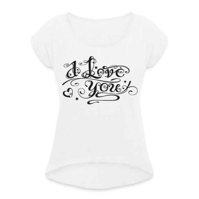Merch And Beauties Tattoo Schriftlogo I Love You Vrouwen T Shirt