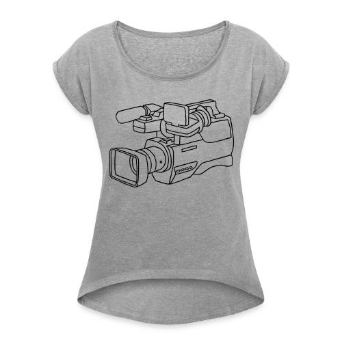 Videokamera - Frauen T-Shirt mit gerollten Ärmeln