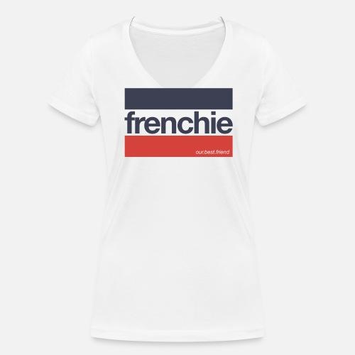 Frenchie Stripes - Frauen Bio-T-Shirt mit V-Ausschnitt - Frauen Bio-T-Shirt mit V-Ausschnitt von Stanley & Stella