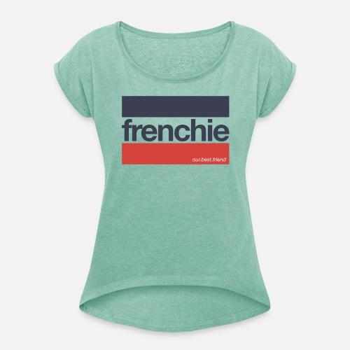 Frenchie Stripes - Frauen T-Shirt mit gerollten Ärmeln