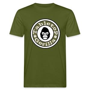Gorilla Shirt Moosgrün mit Logo groß vorne und URL hinten. - Männer Bio-T-Shirt