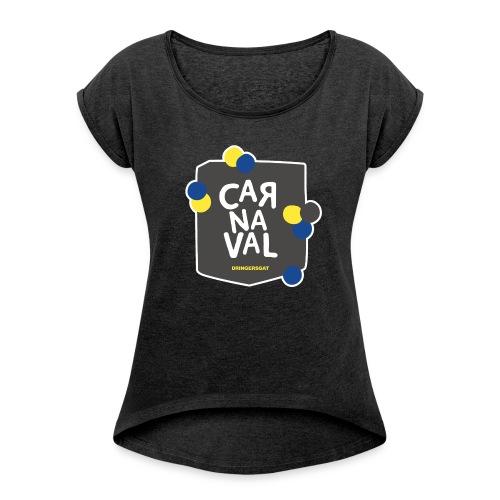 Vintage zwart Dringersgat Vrouw - Vrouwen T-shirt met opgerolde mouwen