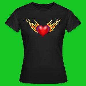 Burning heart, dames t-shirt - Vrouwen T-shirt
