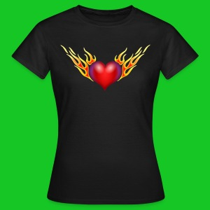 Burning heart, dames t-shirt - Vrouwen T-shirt