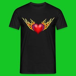 Burning heart heren t-shirt - Mannen T-shirt