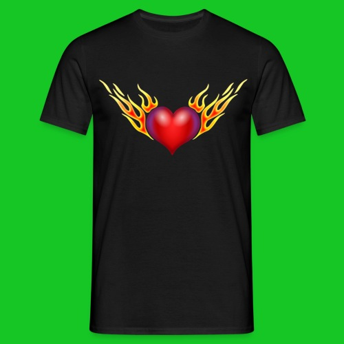 Burning heart heren t-shirt - Mannen T-shirt