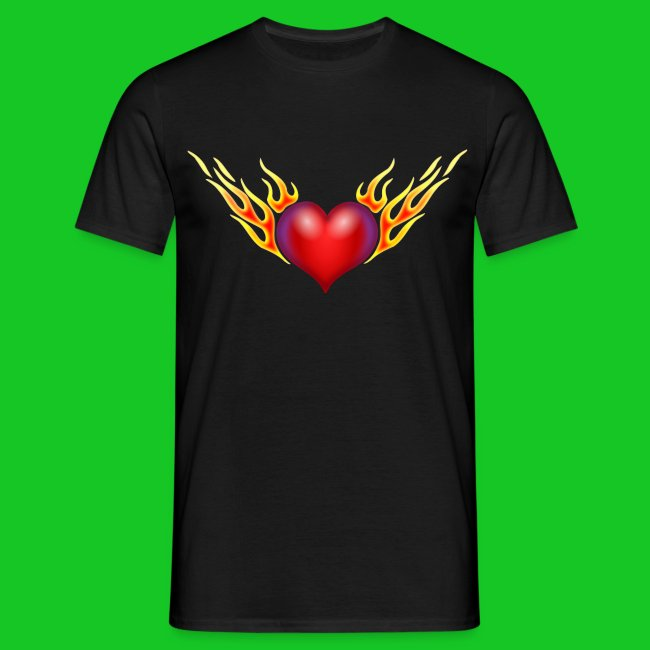 Burning heart heren t-shirt