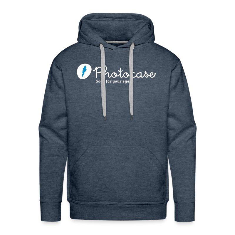 Männer Premium Hoodie - Aufdruck ist weiß/blau und ist im Flexdruck aufgebracht.