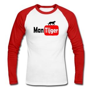 Mantijger - longsleeve rood - Mannen baseballshirt lange mouw