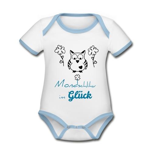 Mondschlihu im GLÜCK – Baby Body BOY – individualisierbar - Baby Bio-Kurzarm-Kontrastbody