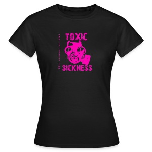 New Ladies Black T-Shirt With Pink Retro Toxic Sickness logo - Women's T-Shirt