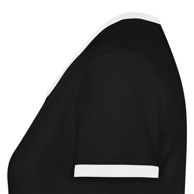 T-shirt femme bicolore manches courtes logo blanc