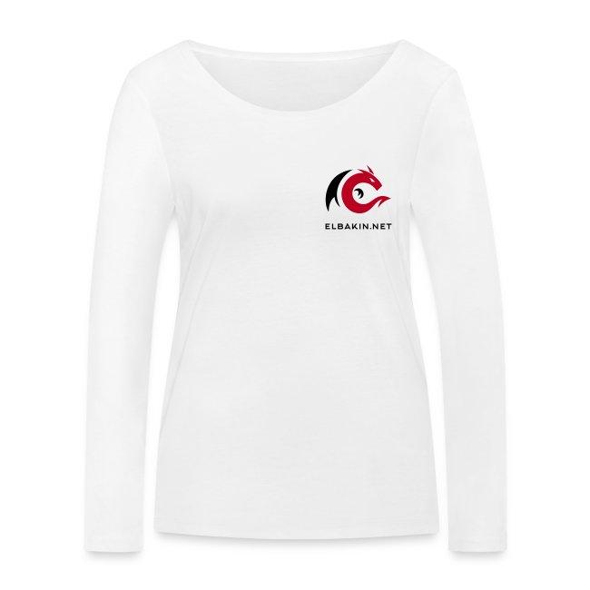 T-shirt femme blanc manches longues logo bicolore