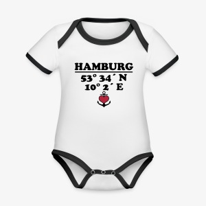 HAMBURG KoordinatenLängengrad Breitengrad Baby Body - Baby Bio-Kurzarm-Kontrastbody