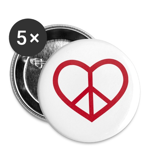 peace love - Buttons/Badges lille, 25 mm (5-pack)
