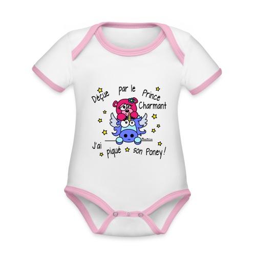 Body Bébé Licorne, Déçue par le Prince Charmant - Body Bébé bio contrasté manches courtes