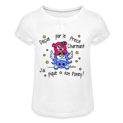 T-shirt Fille Licorne, Déçue par le Prince Charmant - T-shirt à fronces au col Fille