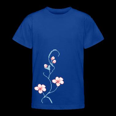 Blu royal vine fiore pixel/ pixel flower rank (3c) T-shirt bambini