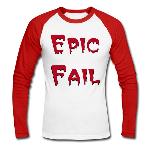 Men's Epic Fail Long Sleeved T-Shirt | wowtees - Men's Long Sleeve Baseball T-Shirt