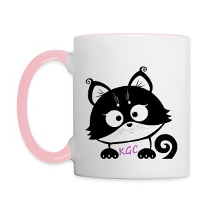 White and pink Kitty´s Game Corner Game On Mug - Contrasting Mug