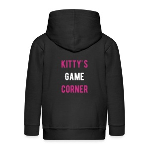 Black Kitty´s Game Corner childrens hoodie. - Kids' Premium Zip Hoodie