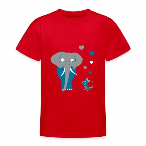 Kinder T-Shirt mit Elefant und Maus - Teenager T-Shirt