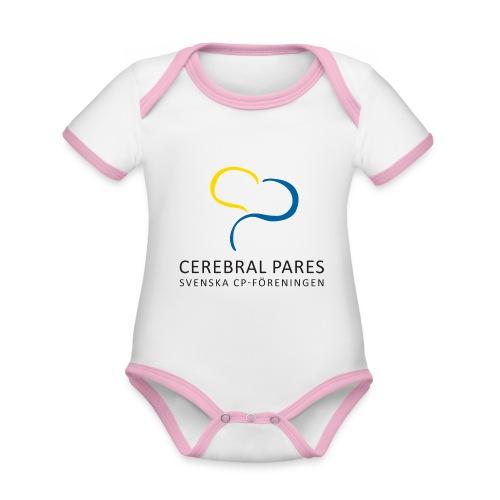 Babybody rosa SvCP - Ekologisk kontrastfärgad kortärmad babybody