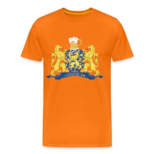 Oranje Koningsdag shirt met bier, leeuwen en jaartal - Mannen Premium T-shirt