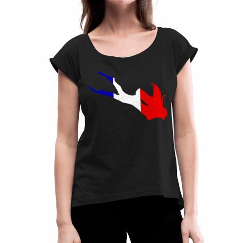 Plongeuse Tricolore Tee shirts - T-shirt à manches retroussées Femme