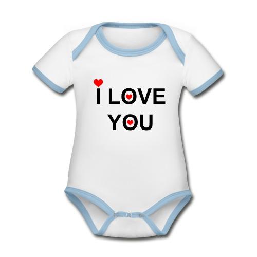i love you - Baby contrasterend bio-rompertje met korte mouwen