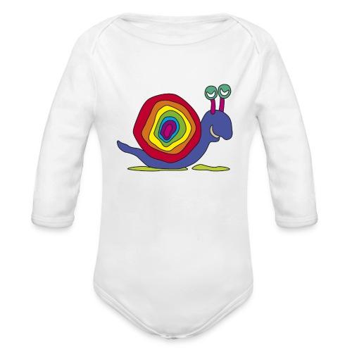 bunt Schnecke Stielauge Regenbogen Kinder Graffiti - Baby Bio-Langarm-Body