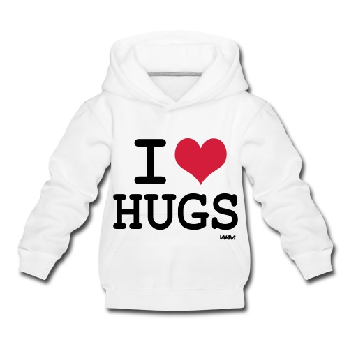 i love hugs hoody with text on back - Kids' Premium Hoodie